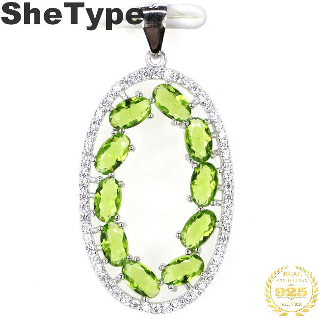 35x18mm SheType European Style 2.7g Created Green Peridot Natural CZ 925 Solid Sterling Silver Pendant