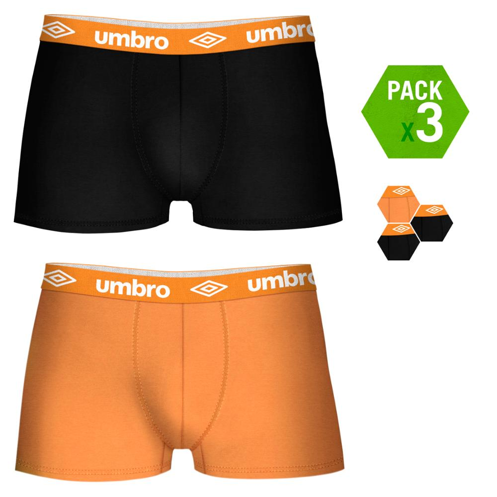 UMBRO Boxers Type Boxer Pack 3 Units In Black And Orange Color For Men