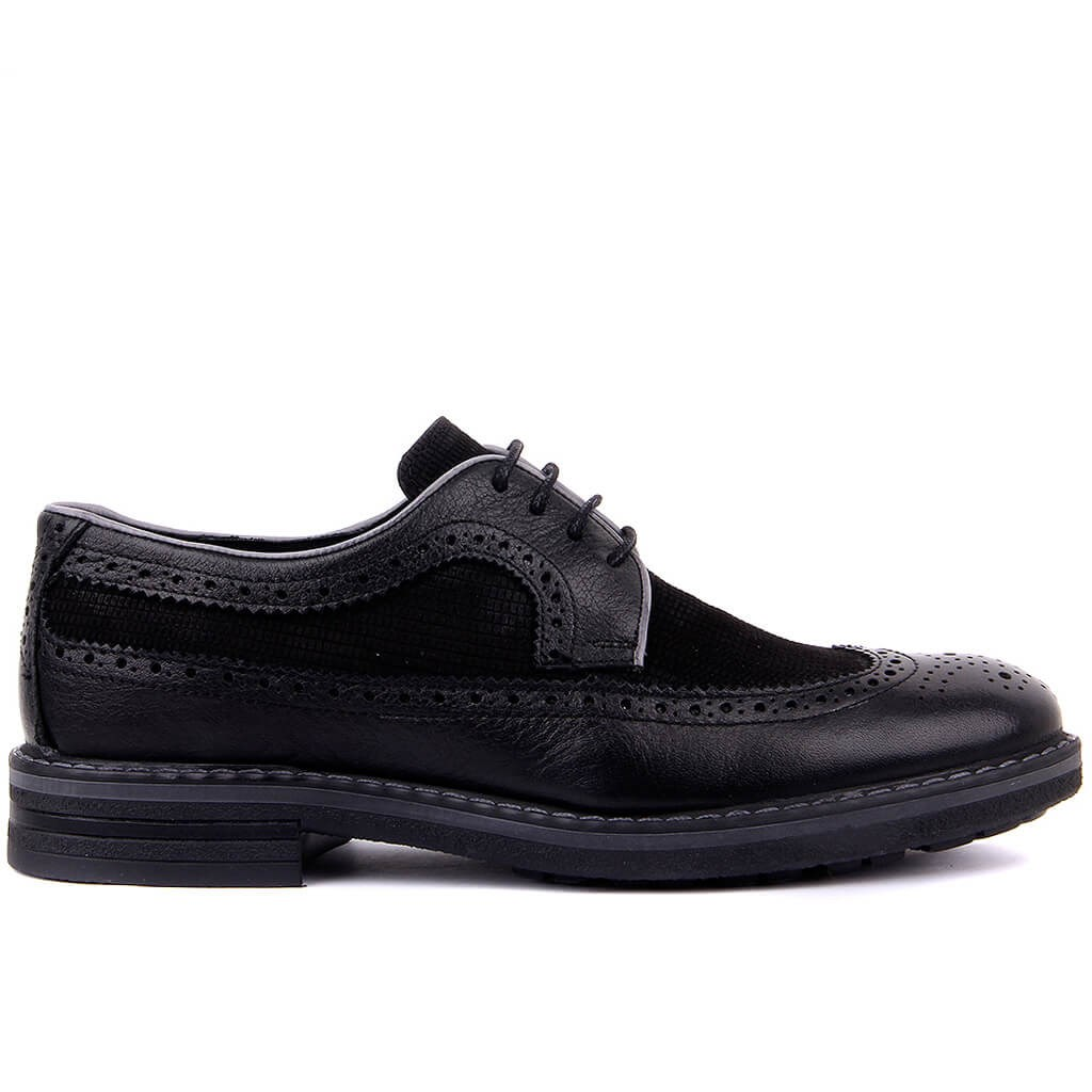 Sail-Lakers Black Genuine Leather Brogue Lace-Up Men Casual Shoes Derby Shoes