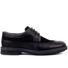 Sail Lakers Black Genuine Leather Brogue Lace Up Men Casual Shoes Derby Shoes
