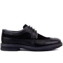 Sail lakers preto couro genuíno brogue cadarço masculino sapatos casuais derby