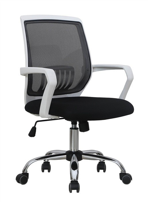 Office Armchair AGNEL, White, Gas, Rocker, Mesh And Black Fabric