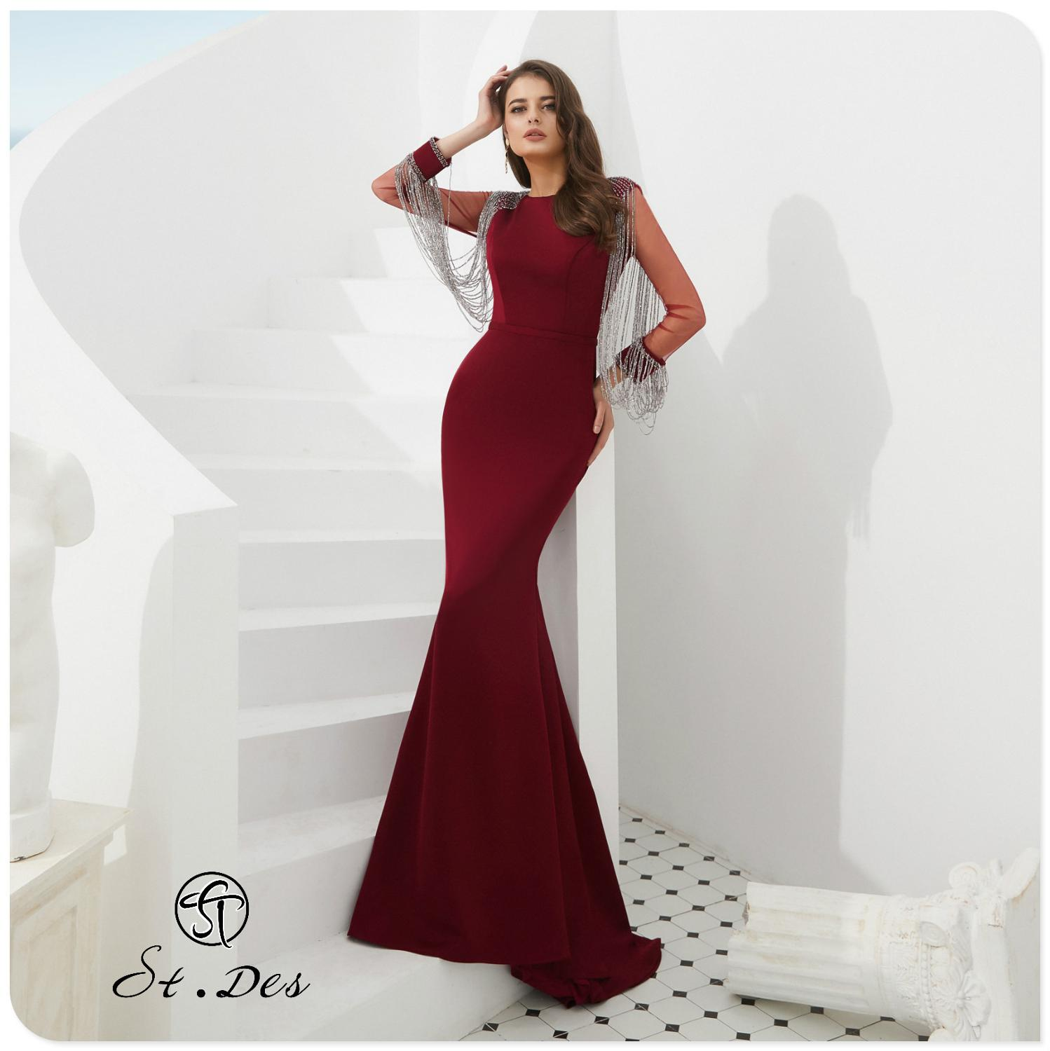 S.T.DES Evening Dress 2020 New Arrival Burgundy Beading Mermaid Boat Neck Wine Long Sleeve Floor Length Party Dress Dinner Gowns