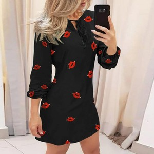 Autumn Women Printed Simple Elegant Pleated Stylish Dress Ladies Autumn Feature Printed Strap Casual Long Sleeve Dress