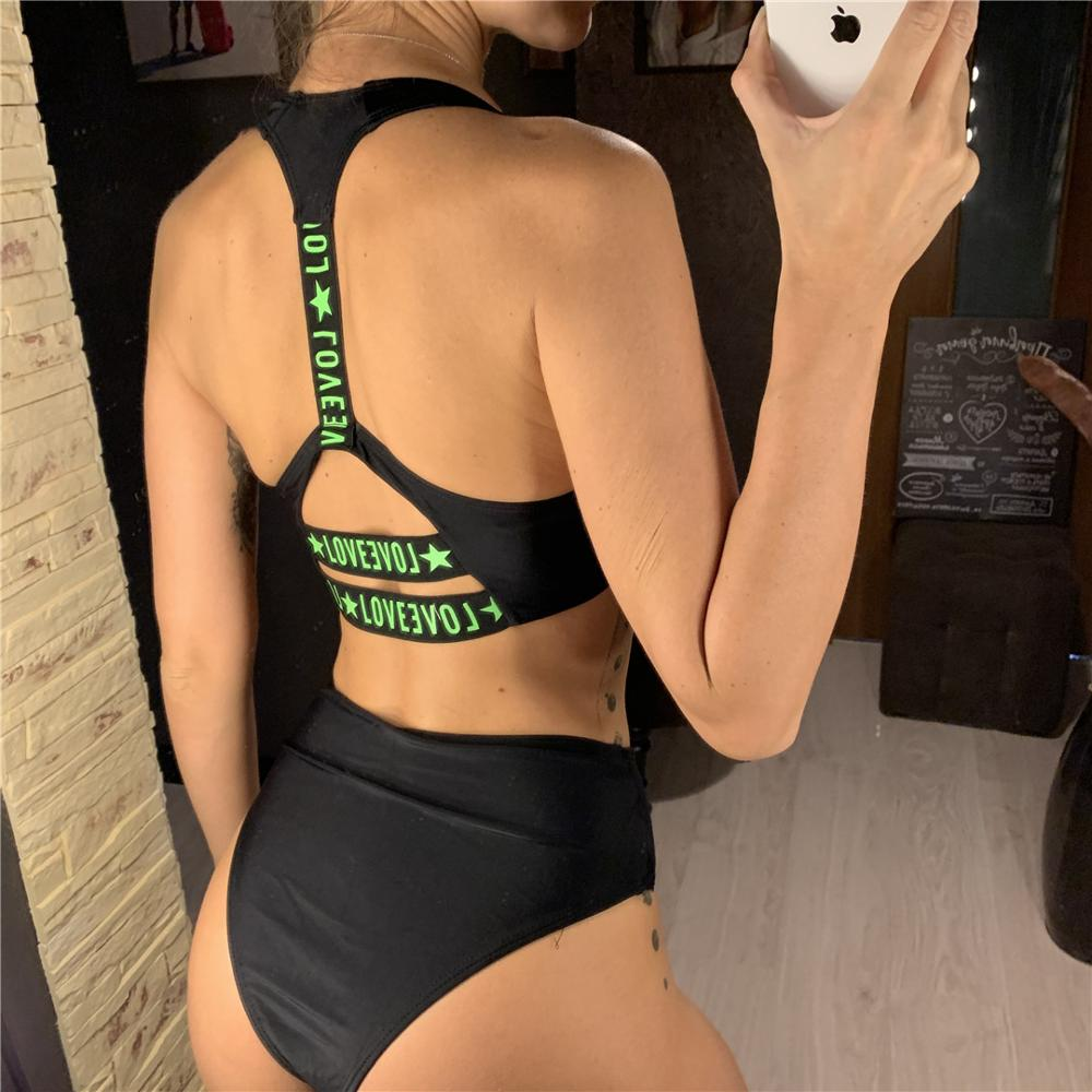 Sexy Letter Printed Bikini High Waist Swimsuit 2020 Women Swimwear Bikini set Zipper Bather Sport Bathing Suit Swim Wear V1775 4