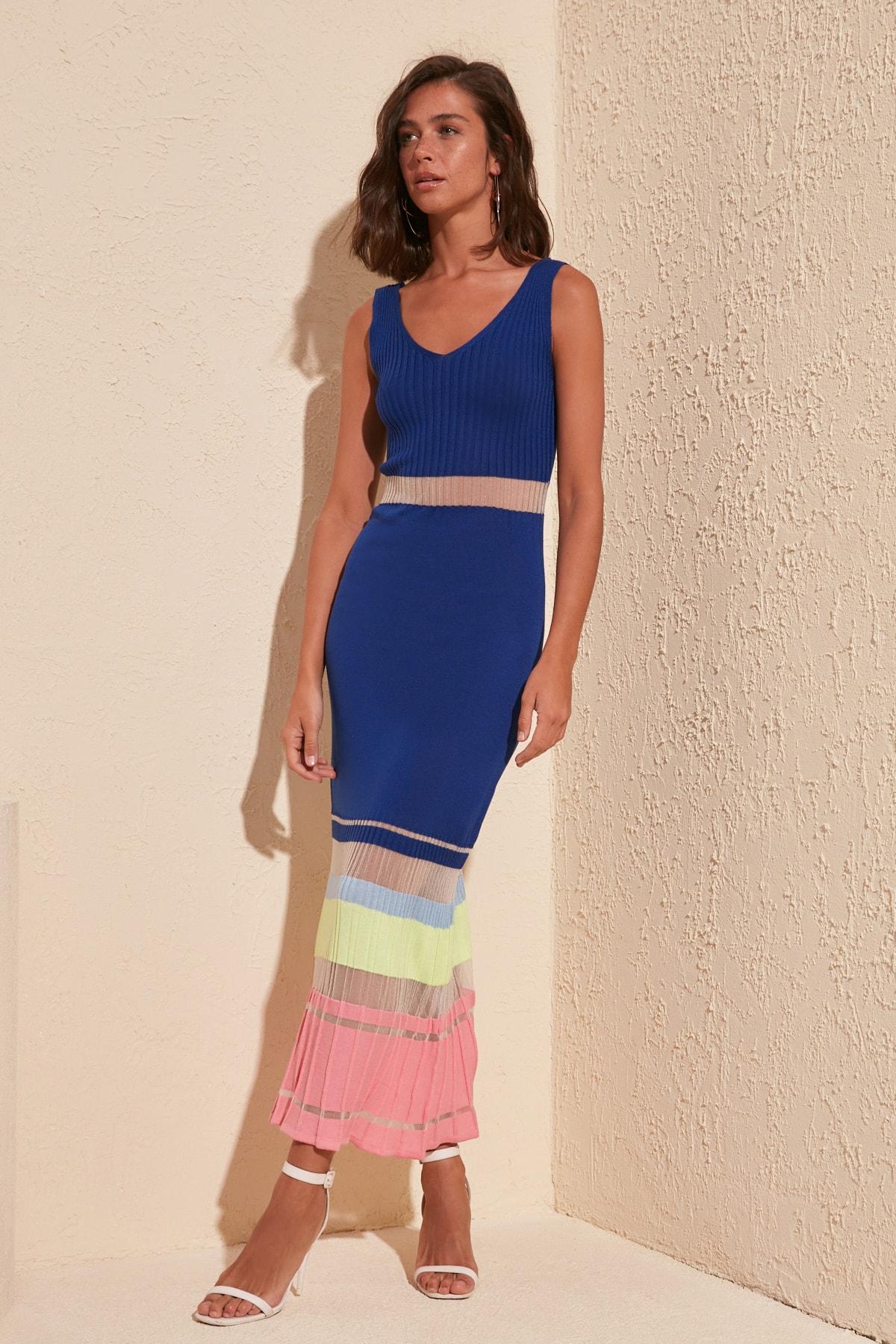 Trendyol Transparan Detailed Knitwear Dress TWOSS20EL1796