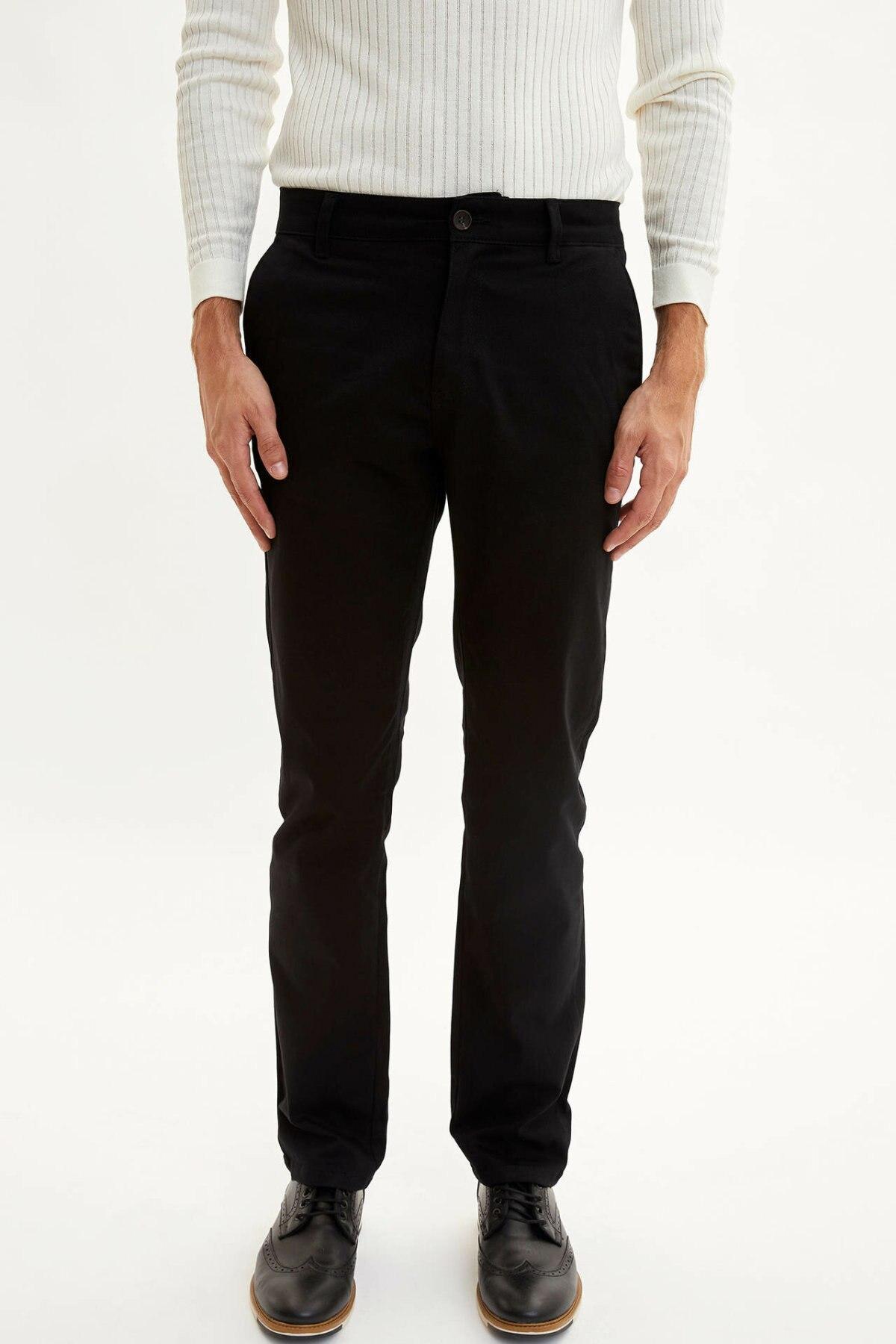 DeFacto Men's Solid Color Casual Trousers Male Classic Style Stright Pant High Quality Loose Fashion Pants Men - L2489AZ19AU