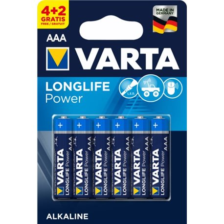 ALKALINE Battery LR03 AAA 1,5V LONGLIFE POWER VARTA 6 PZ