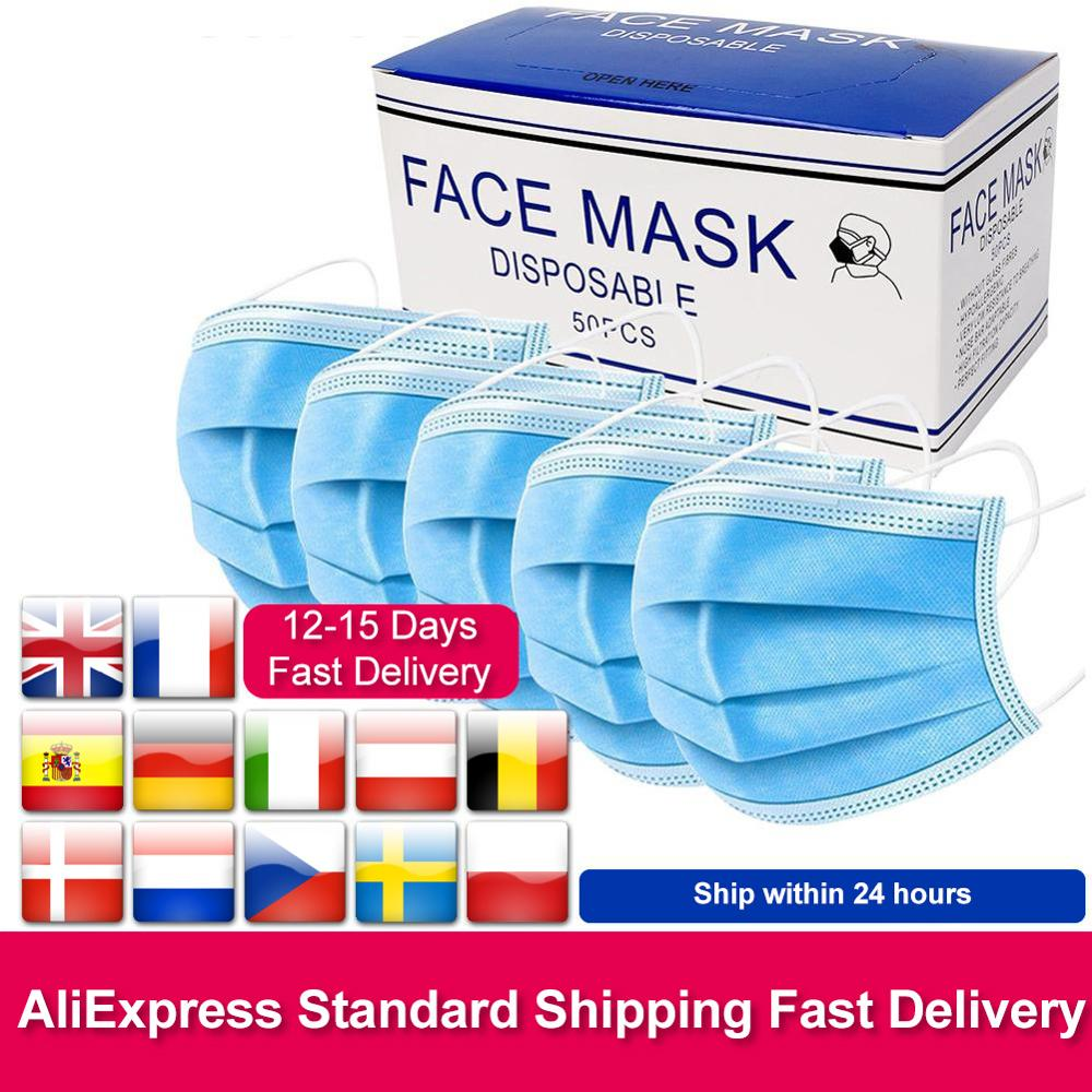 In Stock Fast Delivery Disposable Face Masks 3 Layer Nonwove Filter Mouth Mask Earloop protection Anti Pollution Anti Dust MaskParticle Respirators   -