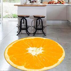 Anders Slice van Oranje Verse Vruchten 3d Patroon Anti Slip Back Ronde Keuken Tapijten Tapijt Voor Woonkamers-in Tapijt van Huis & Tuin op