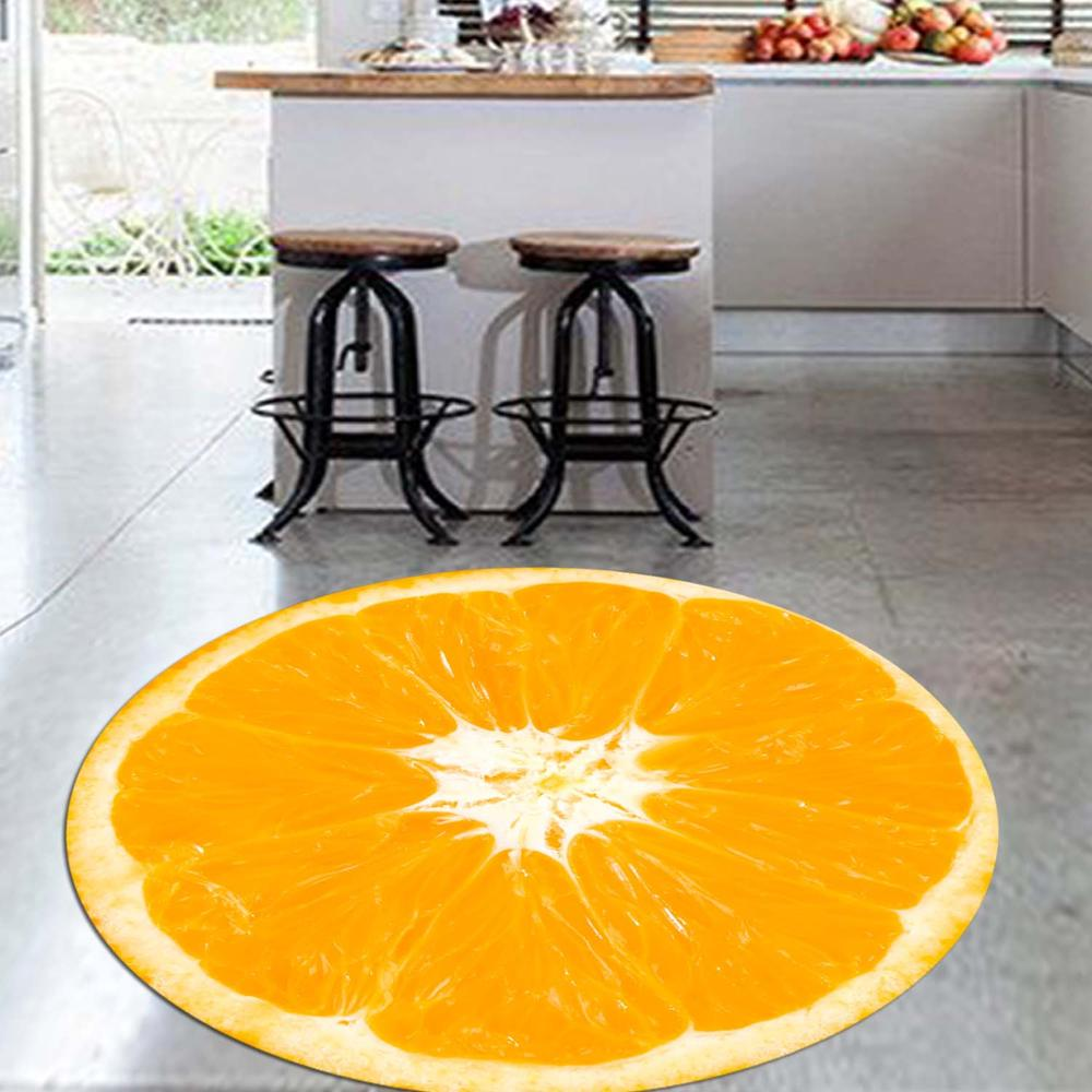 Else Slice Of Orange Fresh Fruits 3d Pattern Print Anti Slip Back Round Kitchen Carpets Area Rug For Living Rooms
