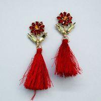 Stylish earrings red silk tassel (52499)