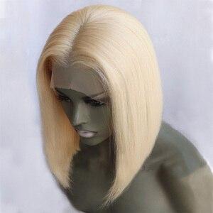 Image 4 - 150% Densità Anteriore Del Merletto Dei Capelli Umani Parrucche 613 Blonde 13*4 Lisci Corti Bob Parrucche Del Merletto Brasiliano Umani di Remy parrucche dei capelli Per Le Donne