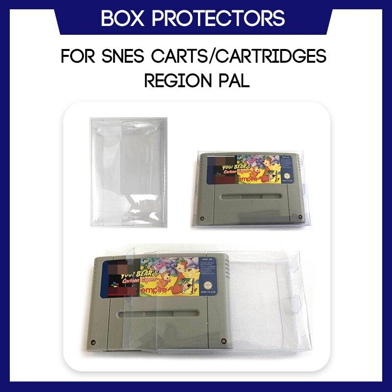 Caixa protetor para snes para super nintendo cart cartucho região pal jogo feito sob encomenda caso plástico claro
