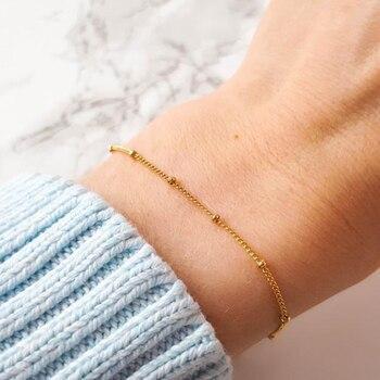 Cadena de bolas Pulsera hecha a mano joya con relleno de oro Vintage Ed Tobilleras Pulsera Para Tobilleras Boho mujeres brazaletes