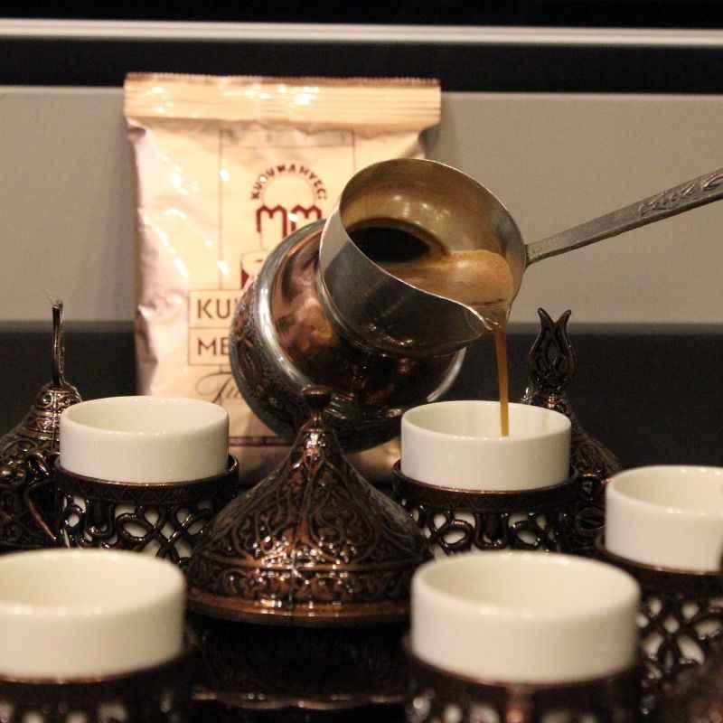 Rame Ottoman turco arabo tè caffè espresso Tazze Tazza Set - 6 pz tazze salse con vassoio, zuccheriera Made in Turchia contenitore di regalo