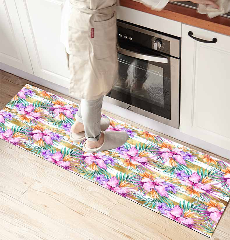 Else Purple Tropical Flowers Lines 3d Print Non Slip Microfiber Kitchen Counter Modern Decorative Washable Area Rug Mat