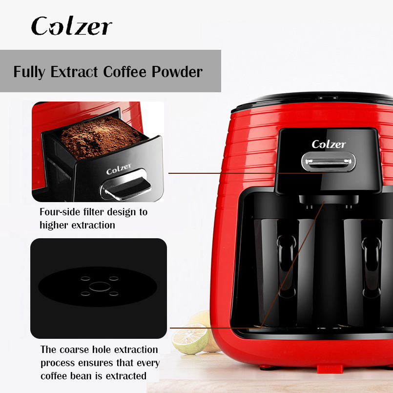 Colzer Coffee Machine With 2pcs Cups Concentrated American Double Cup Espresso Drip Machine For Coffee Maker Machine For Home 3