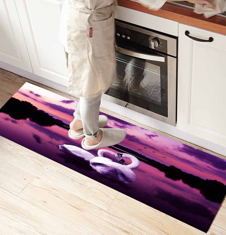 Else Purple View Background White Swans 3d Print Non Slip Microfiber Kitchen Counter Modern Decorative Washable Area Rug Mat