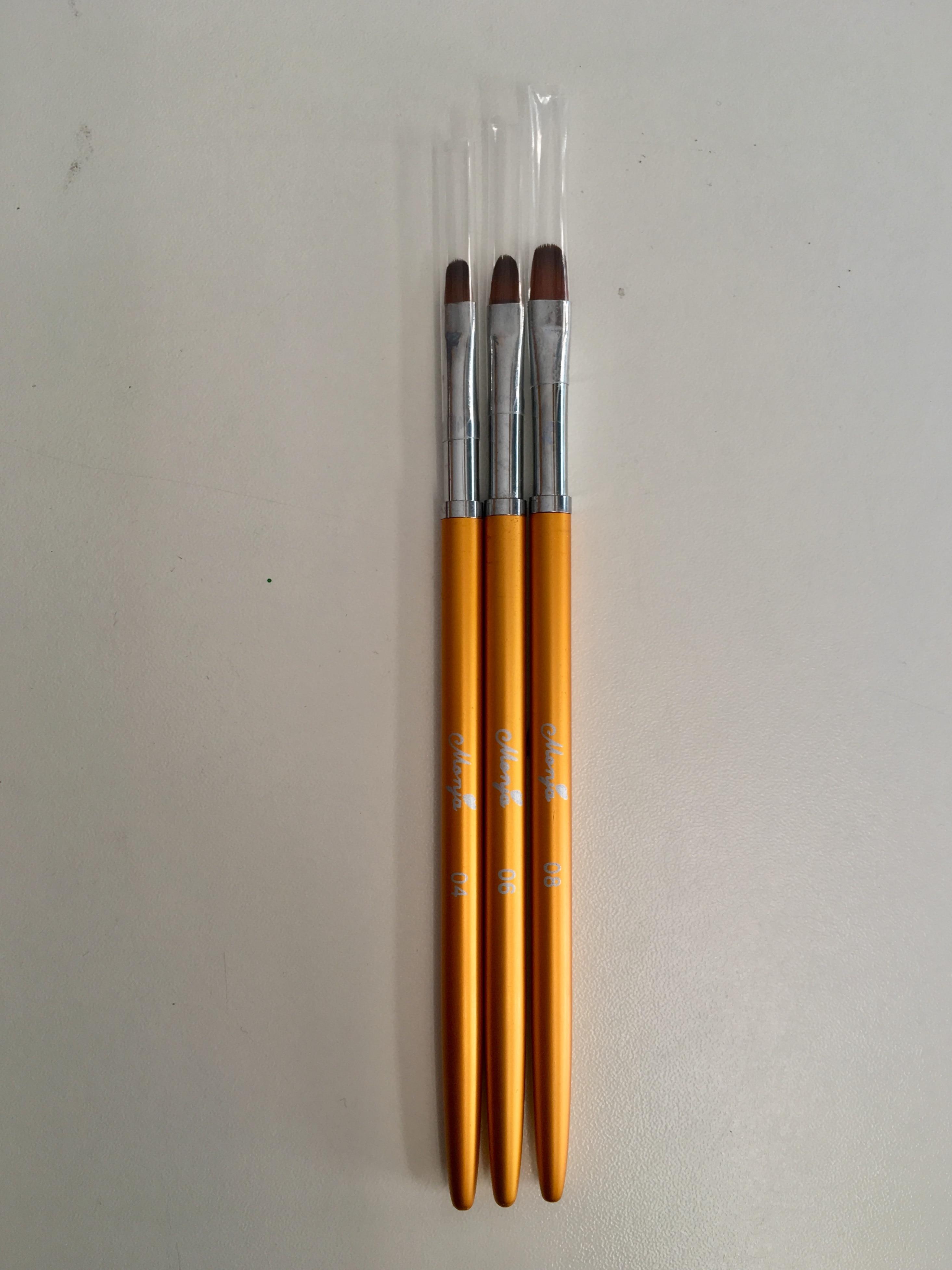 3 Size Nail Art Gold Round Top Painting Brush Set Gel Polish Tips Extending Coating 3D Petal Flower DIY Drawing Shaping Pens Kit reviews №2 161372