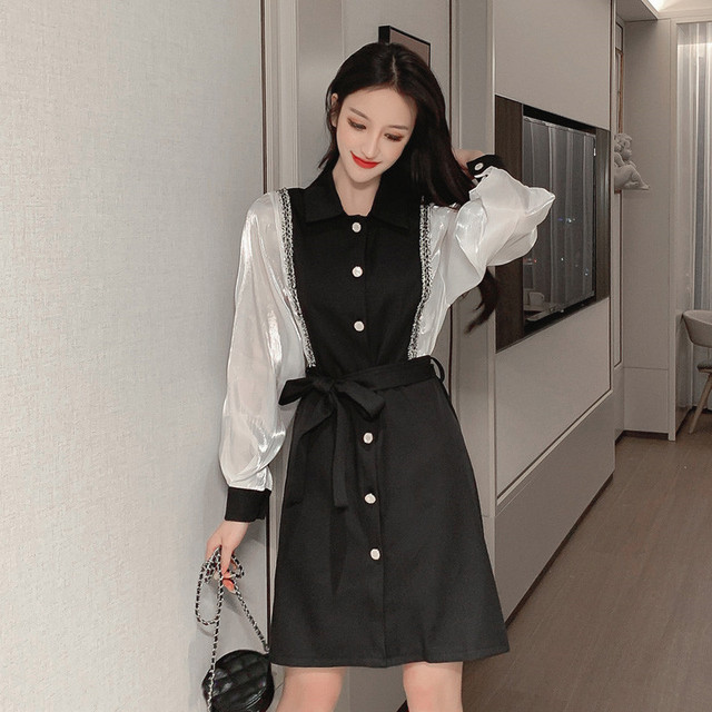 The new spring fashion is thin and fake two-piece bottoming shirt Hepburn style French super fairy women's temperament dress 1