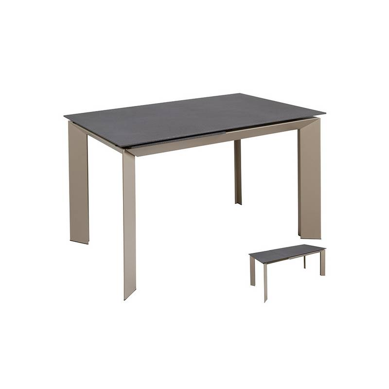 Dining Table Glass Metal Gray (120x80x76 Cm)