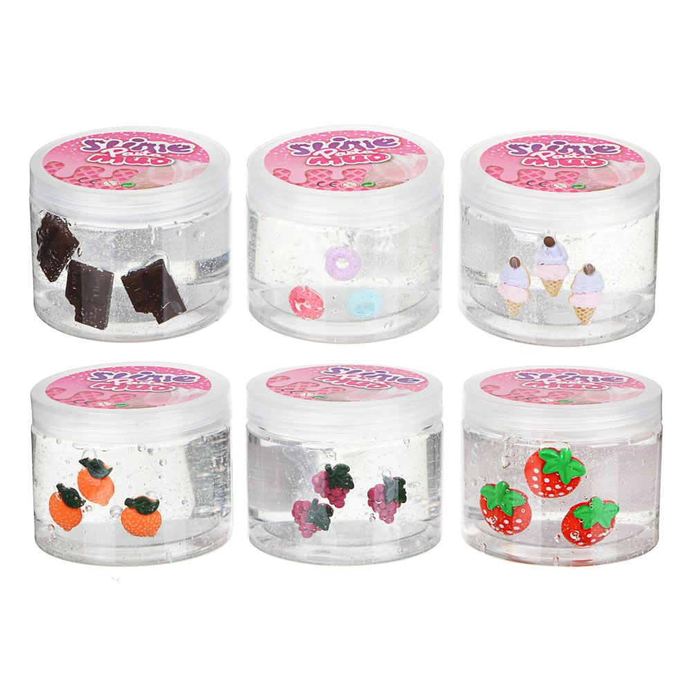 LIZUN, SLIME FOR BLOWING WITH MINI ACCESSORIES CHEESE GUM FOR HANDS CHEAP WITH GLITTERS, POLYMER, 3-4 COLORS, 6, 5X8, 5CM,