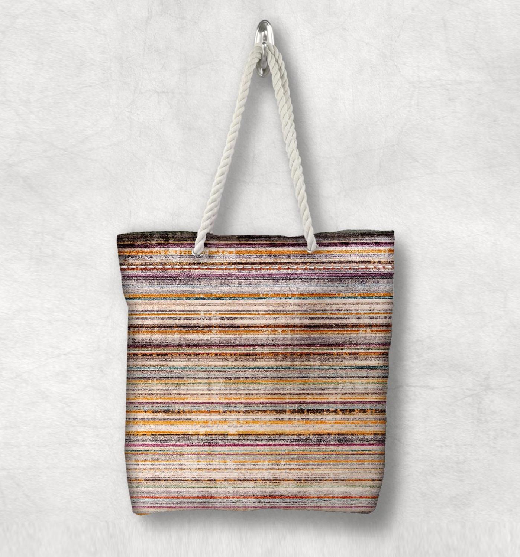 Başka bir sarı kahverengi çizgiler anadolu antika Kilim tasarım beyaz halat kolu kanvas çanta pamuk kanvas fermuarlı Tote çanta omuzdan askili çanta