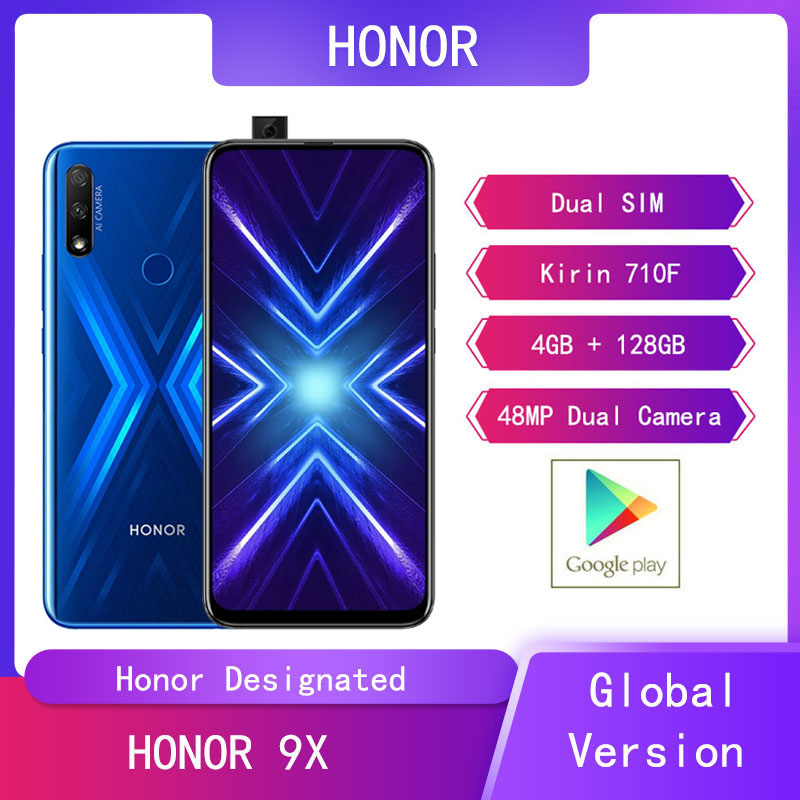 "Global VersHuawei Honor 9X 4GB 128GB Mobile Phone 6.59 "" Smartphone 48MP AI Dual Camera  Cell Phones Support Google Play"