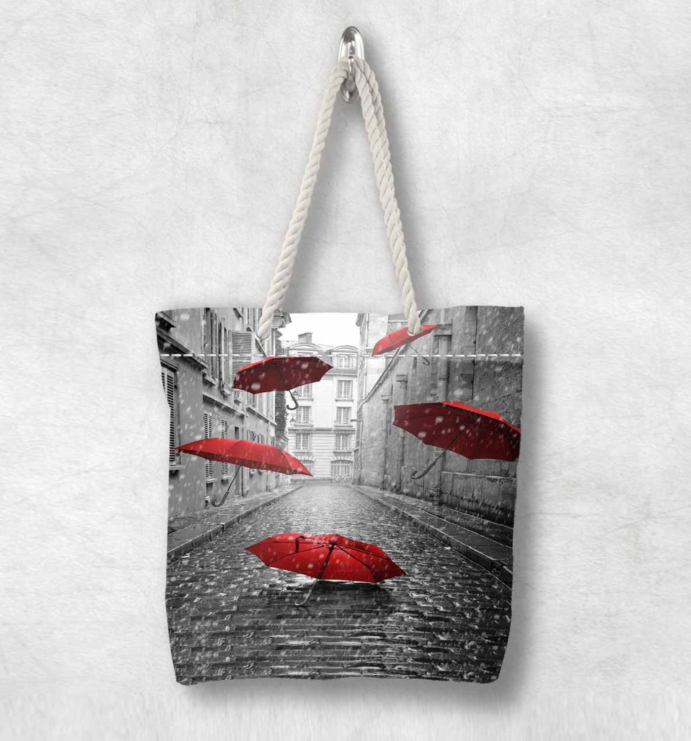 Else Gray White Old Street Red Umbrella New Fashion White Rope Handle Canvas Bag Cotton Canvas Zippered Tote Bag Shoulder Bag
