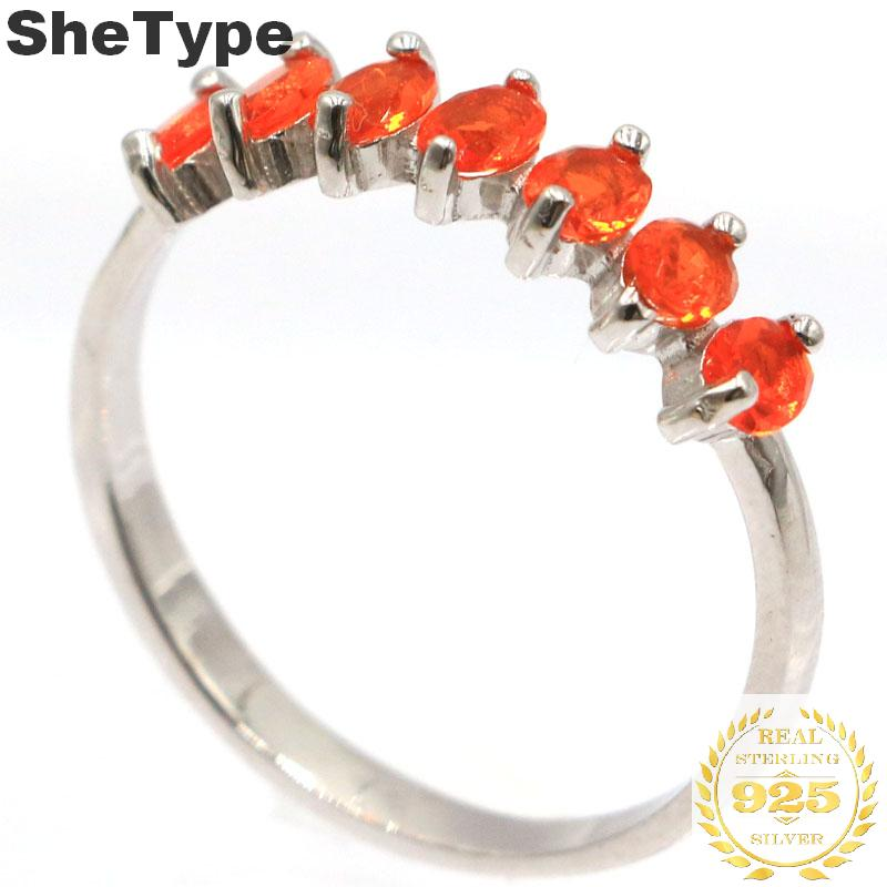 18x5mm 2019 Japanese Style 1.9g Created Orange Spessartine Garnet Gift For Sister 925 Solid Sterling Silver Rings