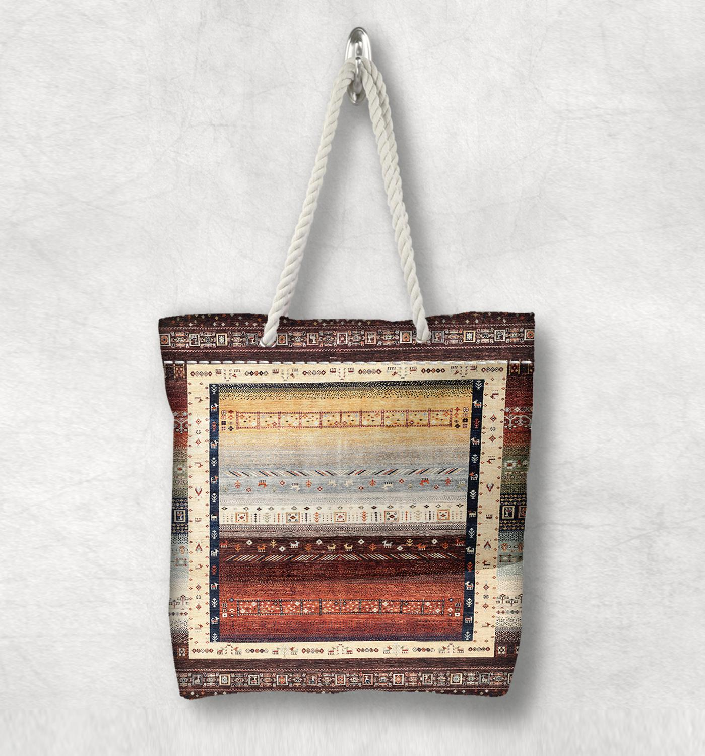 Else Beige Brown Gray Retro Anatolia Antique Kilim White Rope Handle Canvas Bag Cotton Canvas Zippered Tote Bag Shoulder Bag