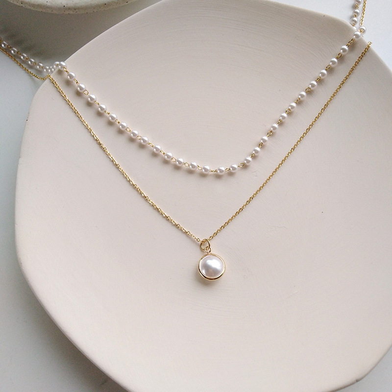 Fashion Chain Pearl Necklace For Women Baroque Pearl Metal Charm Pendants Necklaces Choker Bead Chain Jewelry Gifts 2
