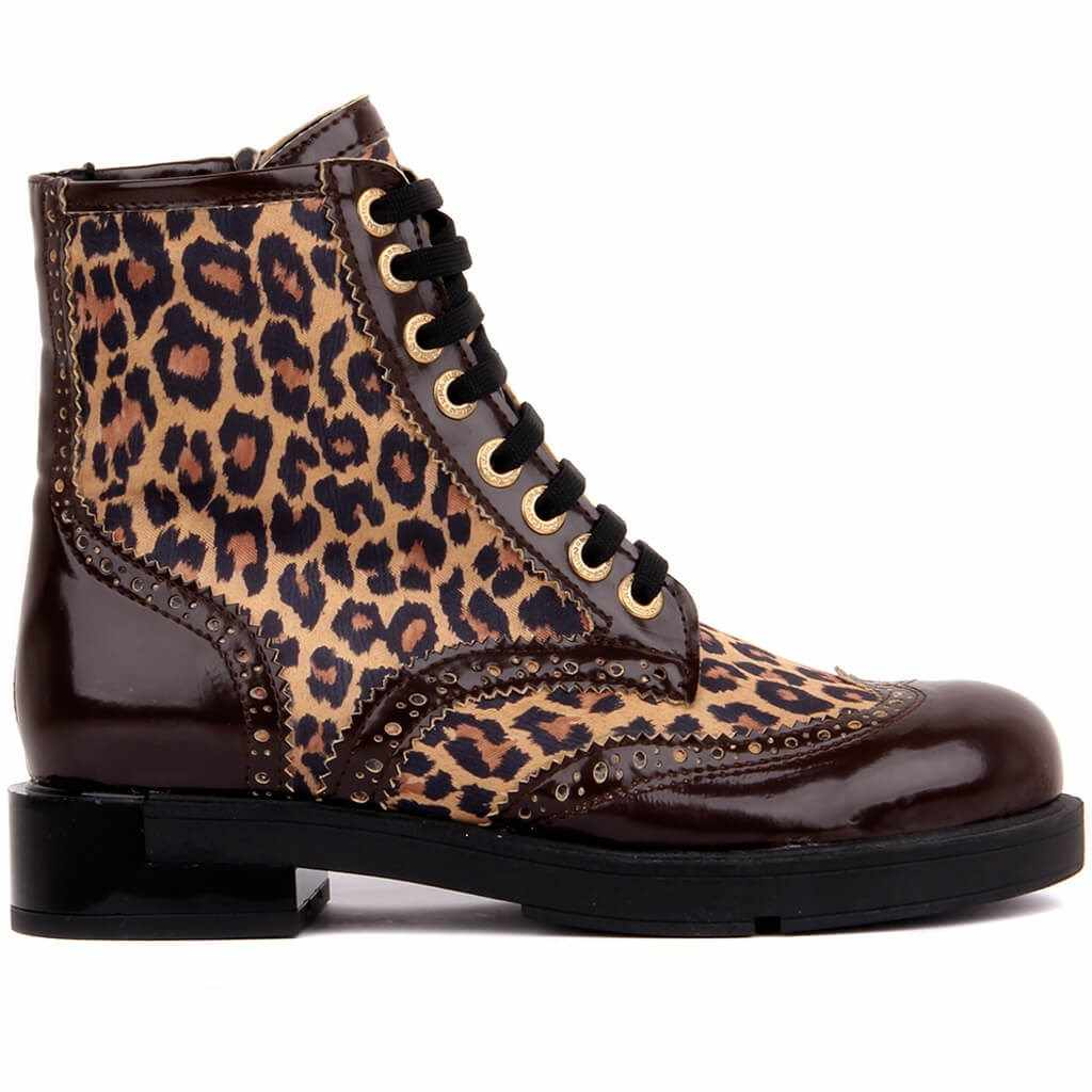 Sail-Lakers Leopard Print Brogue Leather Women's Boots  Women's Shoes Sexy Ankle Boots Slip on Ladies Shoes Zipper Vintage Boots Wedge Autumn Winter Casual Female Made in Turkey 2019 New Hot