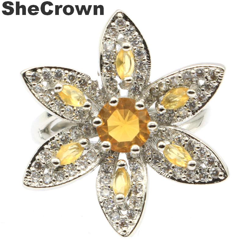25x25mm Beautiful Flower Shape Created Golden Citrine Natural CZ Woman's Party Silver Rings