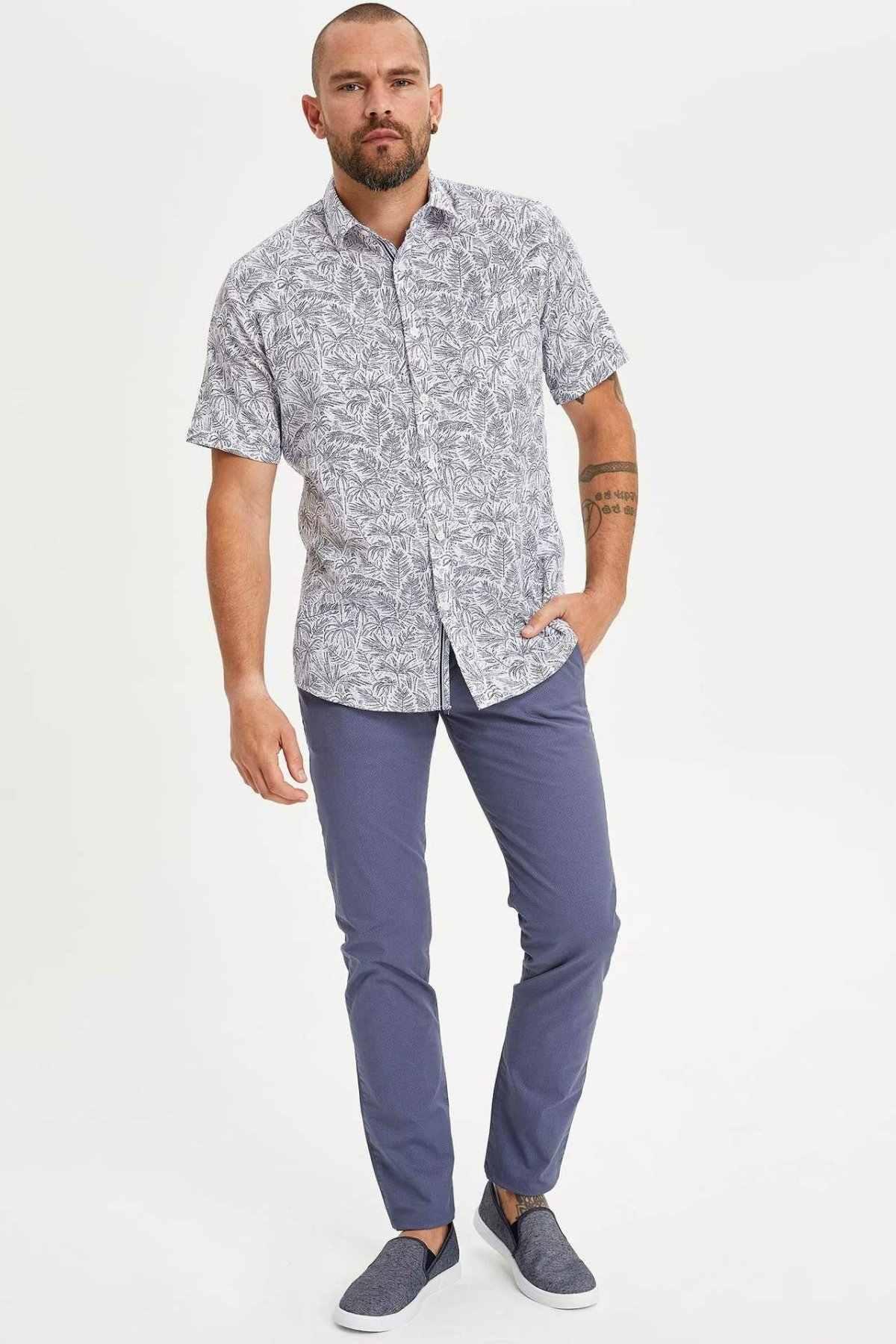 DeFacto męskie letnie jednokolorowe długie spodnie męskie niebieska w stylu Casual dna męskie eleganckie dorywczo w połowie talii Trousers-L5197AZ19SM