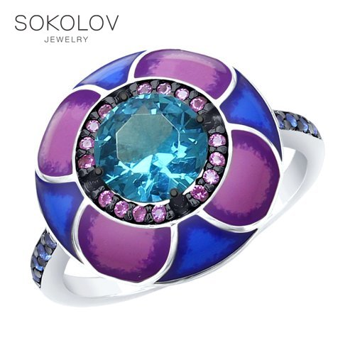 Ring. Sterling Silver With Enamel Blue ситаллом And Blue And Purple Cubic Zirconia Fashion Jewelry 925 Women's Male