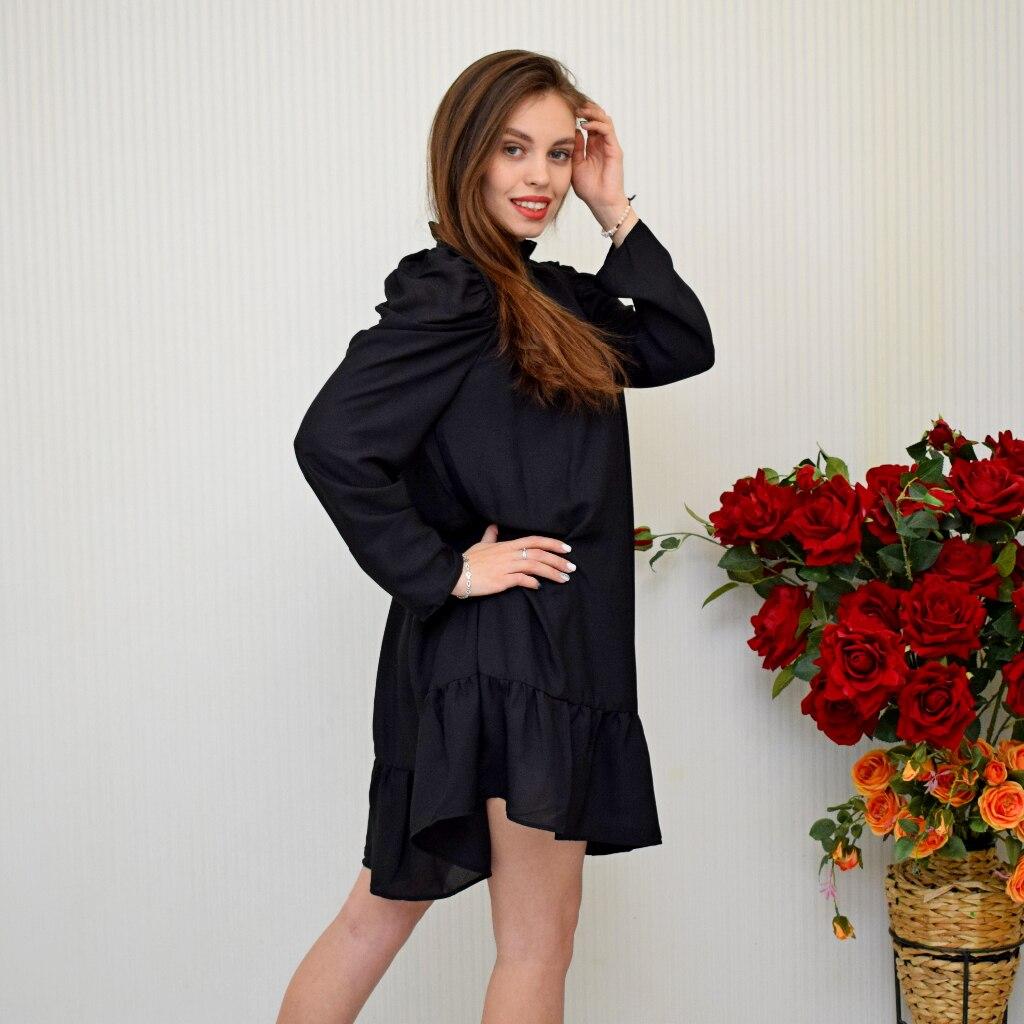 Hot 2019 autumn new fashion women's temperament commuter puff sleeve small high collar natural A word knee Chiffon dress reviews №5 342820