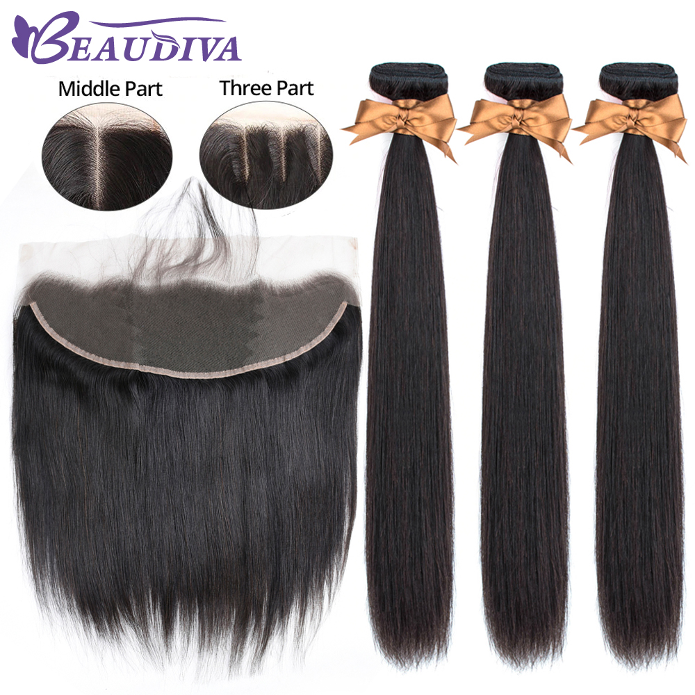 Image 3 - Beaudiva Brazilian Straight Hair Weave Bundles With Frontal Closure Lace Frontal With Bundles Human Hair Extension Hair Bundles-in 3/4 Bundles with Closure from Hair Extensions & Wigs