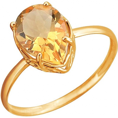 Esthete Ring With 1 Citrine In Red Gold