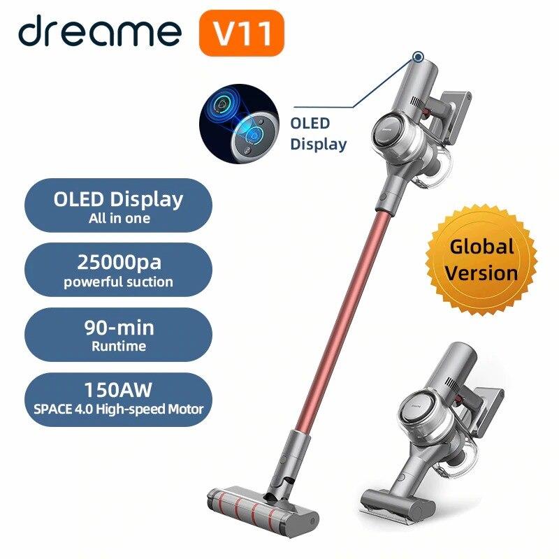 Dreame V11 Handheld Wireless Staubsauger OLED Display Tragbare Cordless 25kPa Alle in einem Staub Kollektor boden Teppich Reiniger