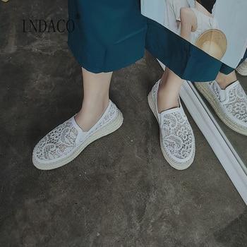 2020 Sneakers Women White Lace Leather Women Sneakers Platform Fashion Spring 5.5cm