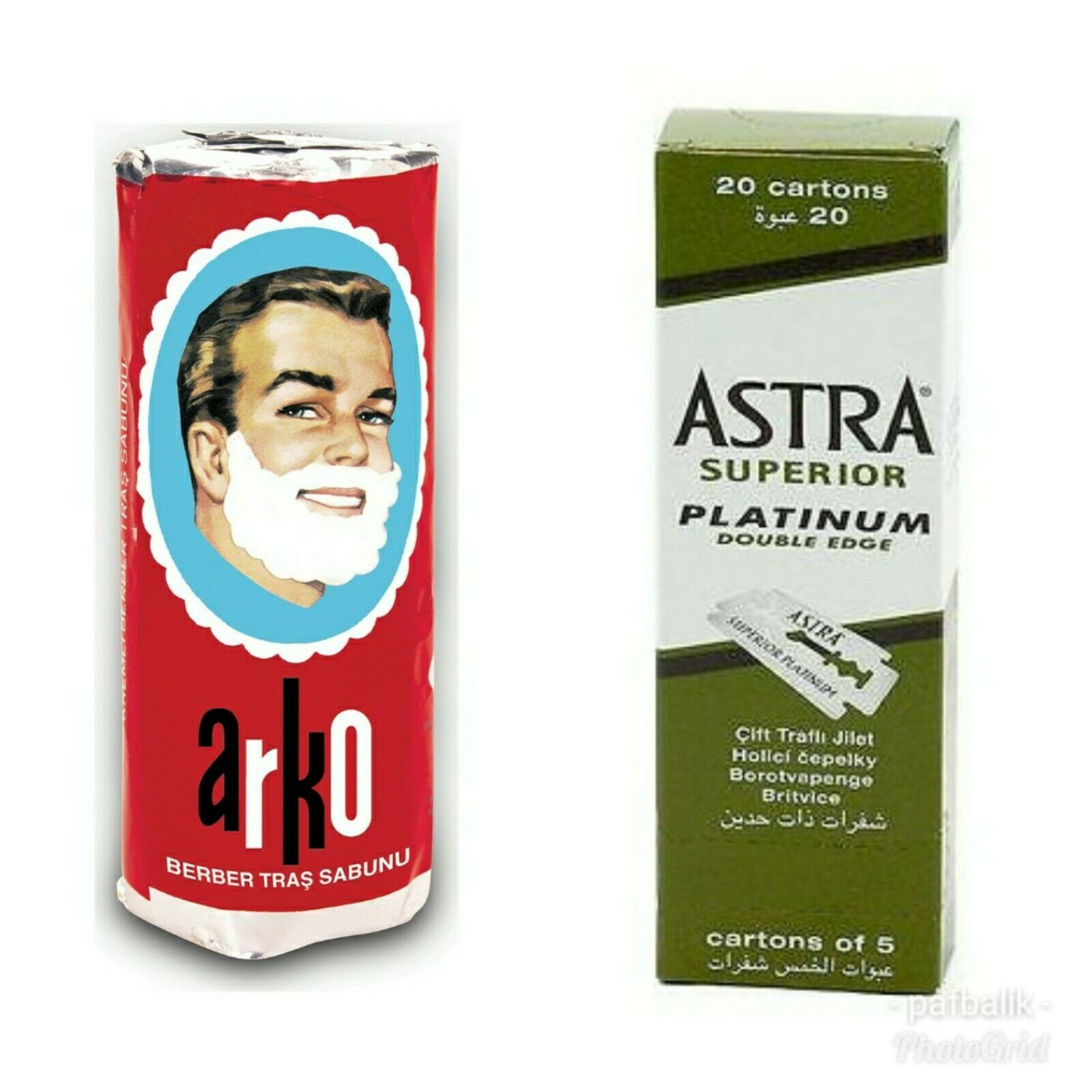 100 Astra Superior Platinum Double Edge Side Razor Blades + Arko Shaving Soap