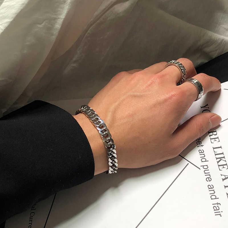 Mcllroy mężczyźni bransoletka łańcuszek ze stali nierdzewnej kubański Link Chain bransoletki dla kobiet mężczyzn Punk Hip Hop bransoletki i Bangles Man biżuteria