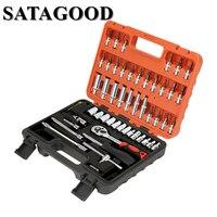 SATAGOOD 53 Pcs Household Tool Set Auto Repair Mixed Combination Package Hand Tool Auto Car Repair Tool Box G 10025