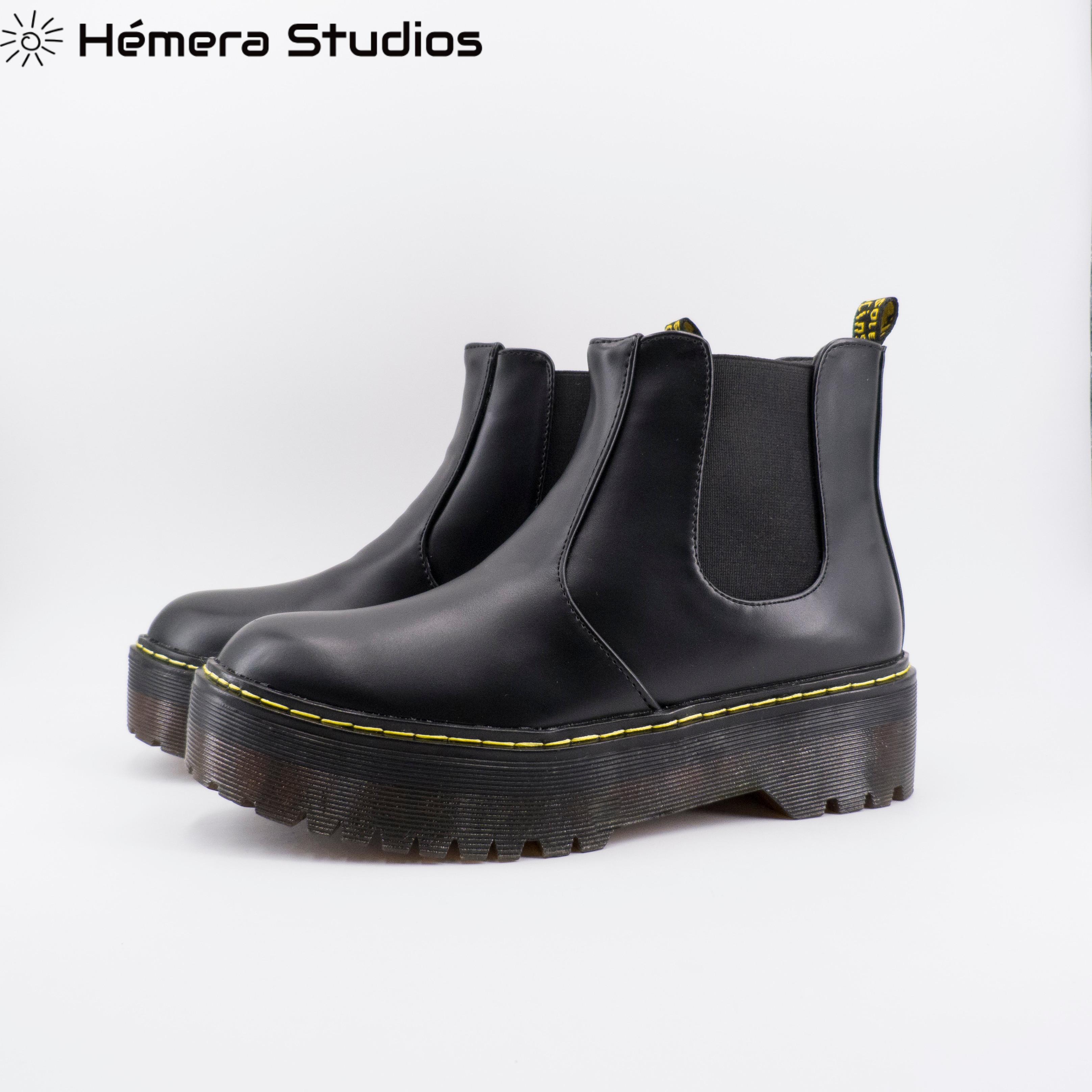 Booties Frauen inverno mit komfortable plattform stiefel Chelsea ankle stiefel in schwarz