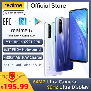 realme 6 Mobile Phone 4GB 8GB RAM 128GB ROM 90Hz Ultra Display Helio G90T 30W Flash Charge 4300mAh 64MP AI Camera Fingerprint ID(China)