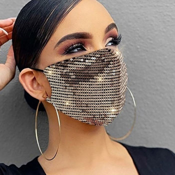 New Unisex Sequin Cotton Masks for Women Fashion Dustproof Breathable Mesh Mouth-muffle Outdoor Bling Party Face Jewelry Mask