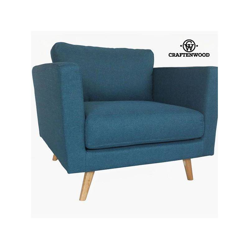 Armchair Pine Wood Polyester Blue (90x88x83 Cm) By Craftenwood