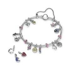 2020 Fashion New High Quality Original 1:1 Pink Flamingo Lucky Horseshoe Pendant Series Women's Exquisite Diy Bracelet